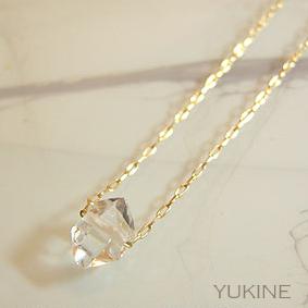 ハーキマーダイヤモンドYGネックレス